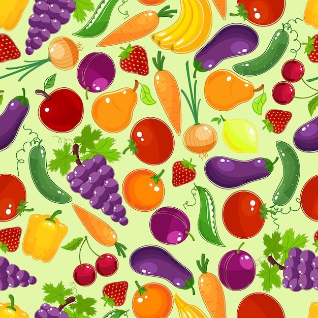 Padrão sem emenda de frutas e vegetais coloridos Vetor grátis
