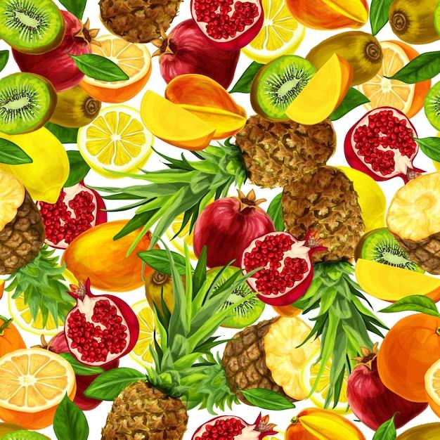 Padrão sem emenda de frutas fatiadas tropicais Vetor grátis