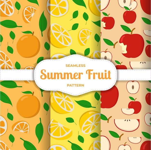 Padrão sem emenda de frutas maçã limão fatia de laranja Vetor Premium