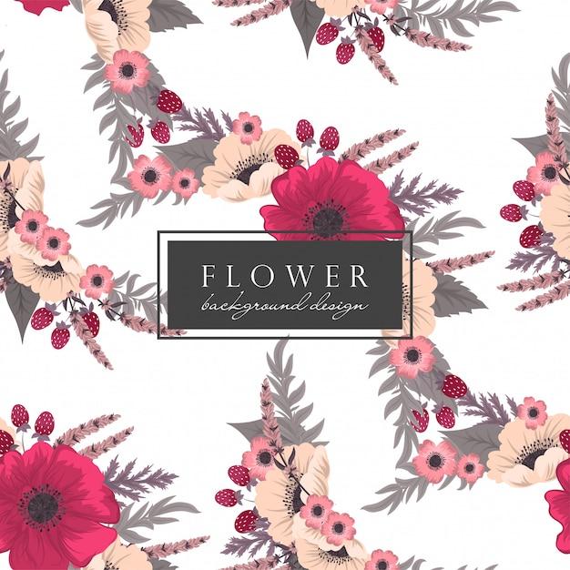 Padrão sem emenda de fundo floral rosa quente Vetor grátis