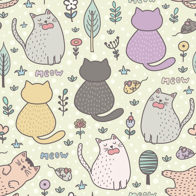 Padrão sem emenda de gatos engraçados dos desenhos animados. Vetor Premium