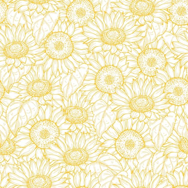 Padrão sem emenda de girassol. linha de fundo de textura de flores amarelas Vetor Premium