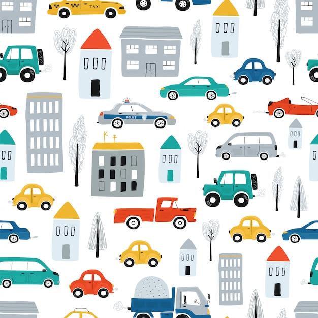 Padrão sem emenda de giro infantil com carros, estrada, casas. ilustração de uma cidade em um estilo cartoon. vetor Vetor Premium