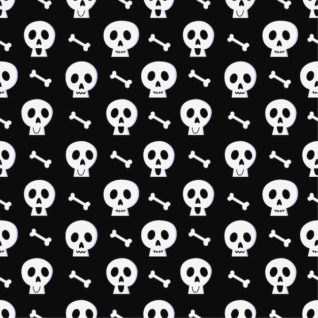 Padrão sem emenda de halloween com caveira e osso em fundo preto. Vetor Premium