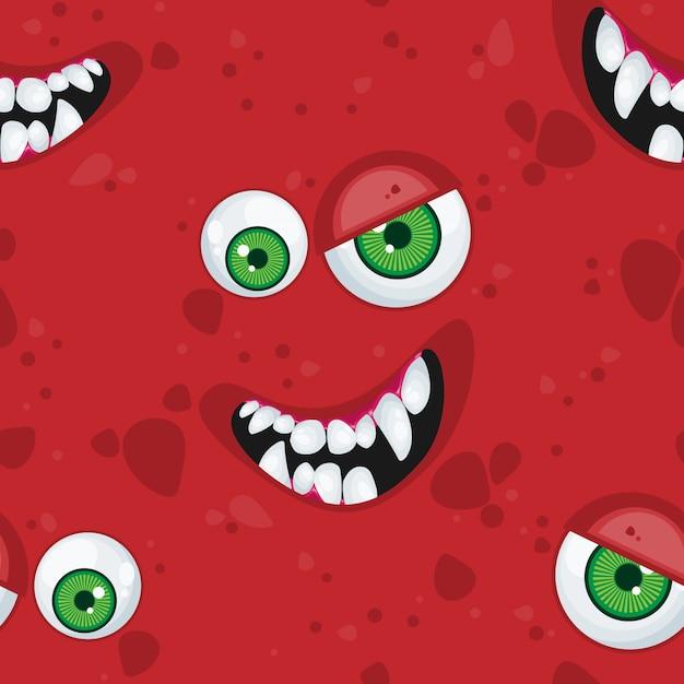 Padrão sem emenda de halloween com monstro de expressão dos desenhos animados. Vetor Premium