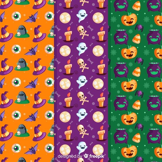 Padrão sem emenda de halloween com personagens festivas Vetor grátis