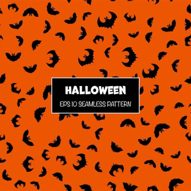 Padrão sem emenda de halloween com silhuetas de morcegos. estilo dos desenhos animados. Vetor Premium