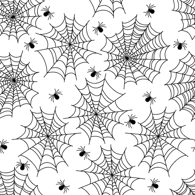 Padrão sem emenda de halloween festa decoração aranha web Vetor Premium