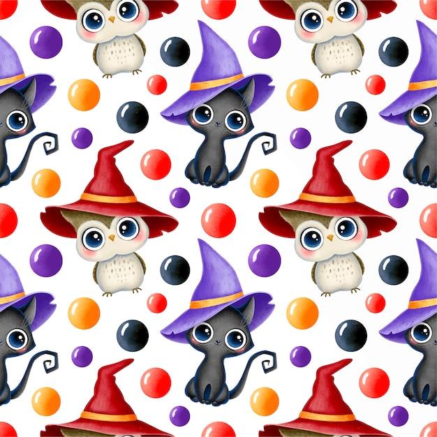 Padrão sem emenda de halloween mágico bonito dos desenhos animados. gato preto e coruja em um chapéu de bruxa. Vetor Premium