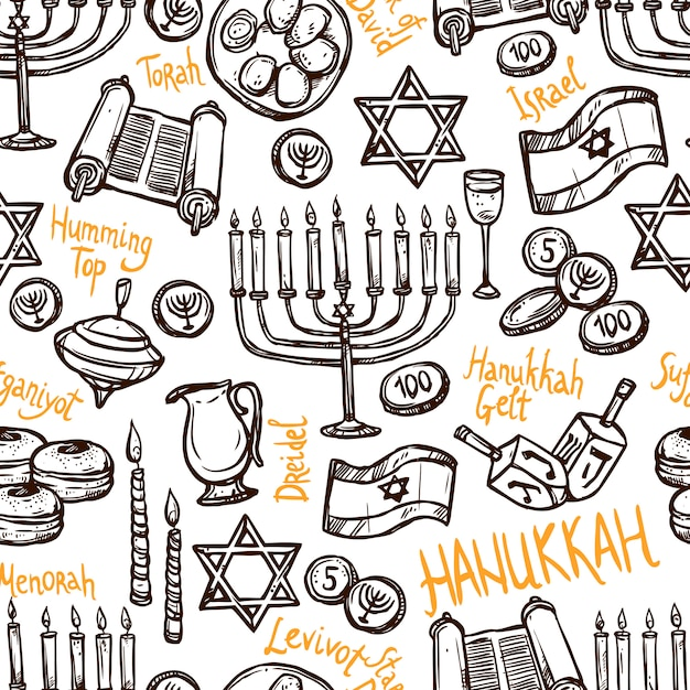 Padrão sem emenda de hanukkah Vetor grátis
