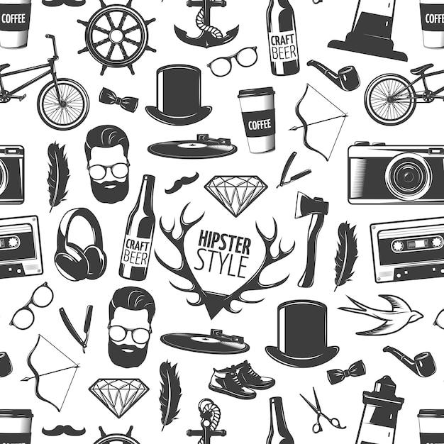 Padrão sem emenda de hipster preto com cabeças isoladas de estilo homem e ilustração em vetor acessórios reconhecíveis Vetor grátis