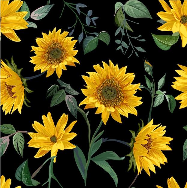 Padrão sem emenda de ilustração de flor de sol Vetor Premium