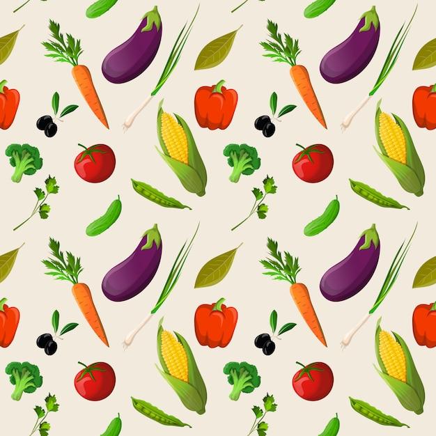 Padrão sem emenda de legumes Vetor grátis