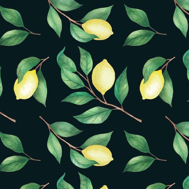 Padrão sem emenda de limão com folhas pintadas por aquarela. Vetor Premium