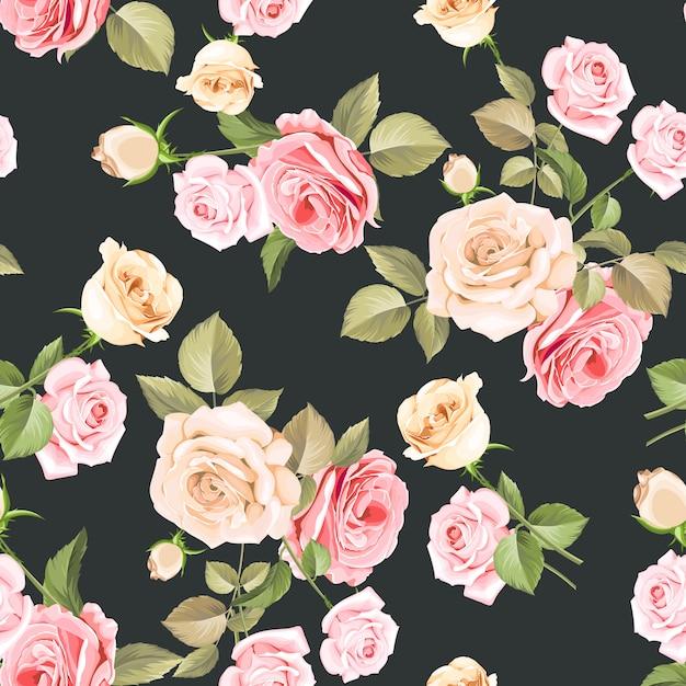 Padrão sem emenda de lindas rosas cor de rosa e brancas Vetor Premium