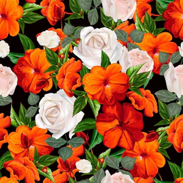 Padrão sem emenda de lizzie e rosas brancas ocupadas Vetor Premium