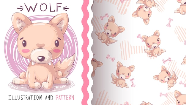 Padrão sem emenda de lobo animal personagem de desenho animado infantil Vetor Premium
