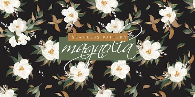Padrão sem emenda de magnólia Vetor Premium
