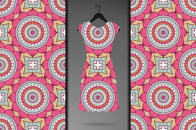 Padrão sem emenda de mandala ornamental de luxo para roupas, estampas têxteis Vetor grátis
