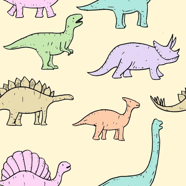 Padrão sem emenda de mão desenhada vector doodle ilustração de dinossauro. Vetor Premium