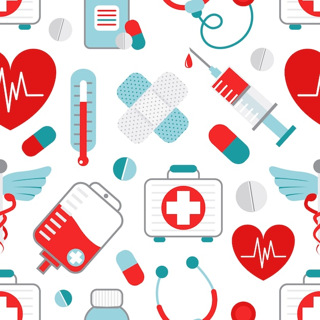 Padrão sem emenda de medicina Vetor Premium