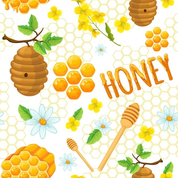 Padrão sem emenda de mel com elementos de flores do favo de mel e ilustração vetorial de insetos Vetor grátis