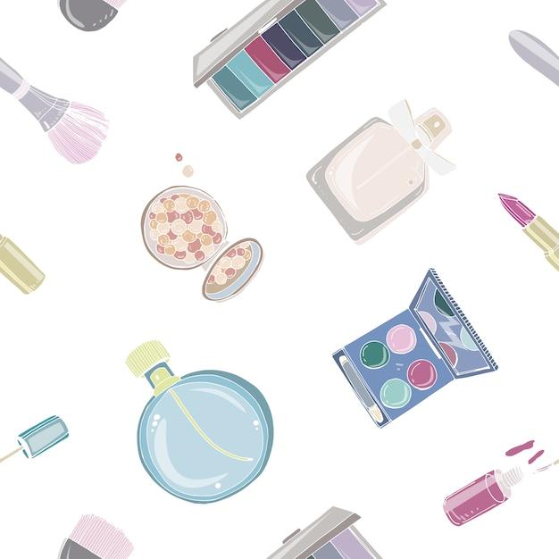 Padrão sem emenda de moda cosméticos com maquiagem de objetos de artista. mão colorida ilustrações desenhadas. Vetor Premium
