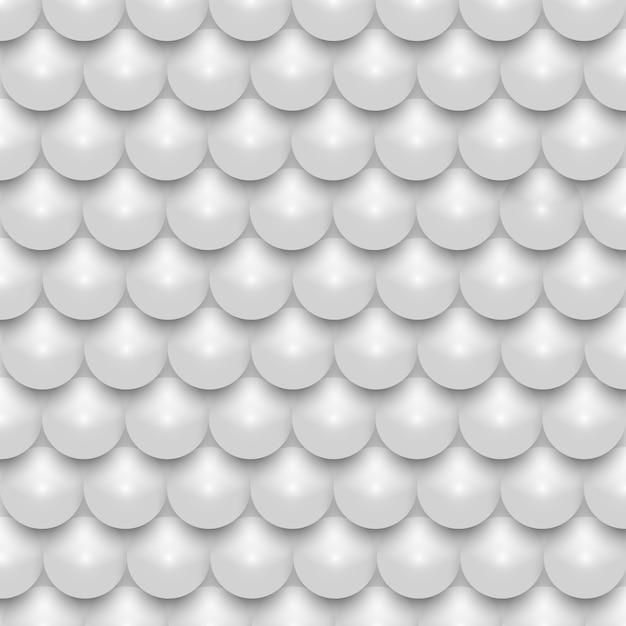 Padrão sem emenda de mosaico de pérola realista brilhante 3d branco Vetor Premium