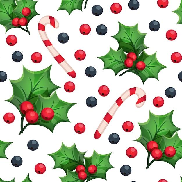 Padrão sem emenda de natal com elementos decorativos: folhas verdes, bagas vermelhas e azuis, bengala Vetor Premium