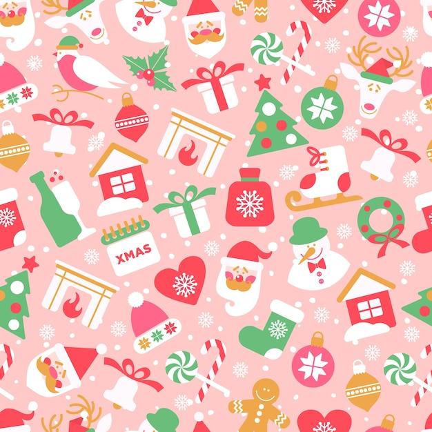 Padrão sem emenda de natal com ícones de ano novo em fundo rosa. Vetor Premium