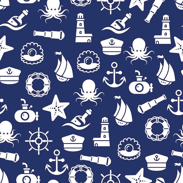 Padrão sem emenda de oceano ou mar com polvo de concha de garrafa de barco de âncora Vetor Premium