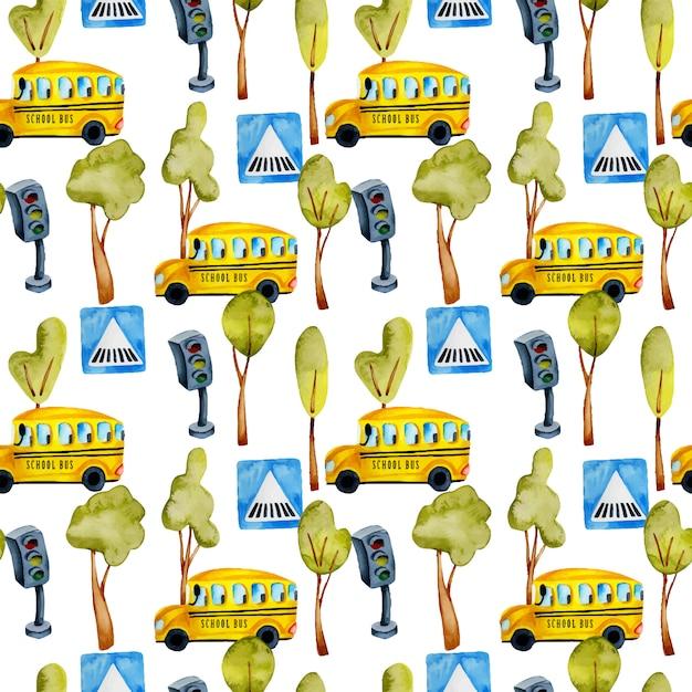 Padrão sem emenda de ônibus escolar em aquarela Vetor Premium