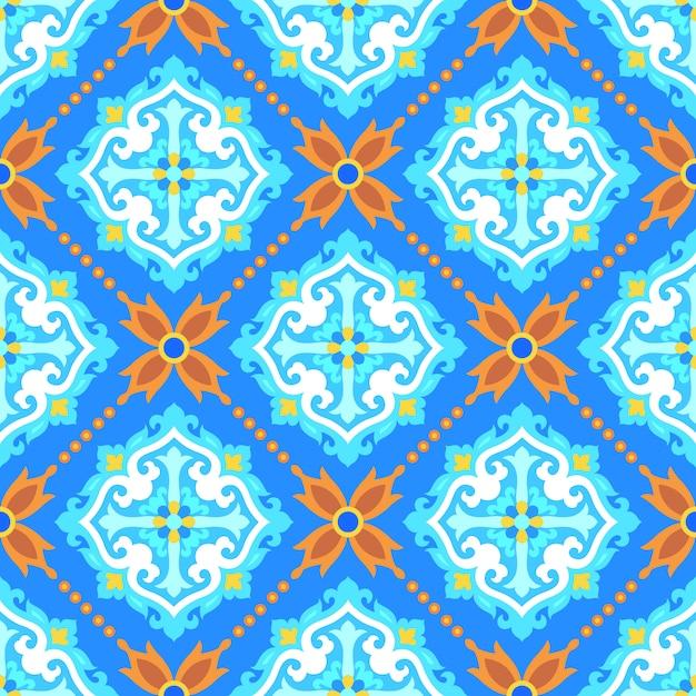 Padrão sem emenda de ornamento turco para papel de parede de mosaico de azulejos Vetor Premium