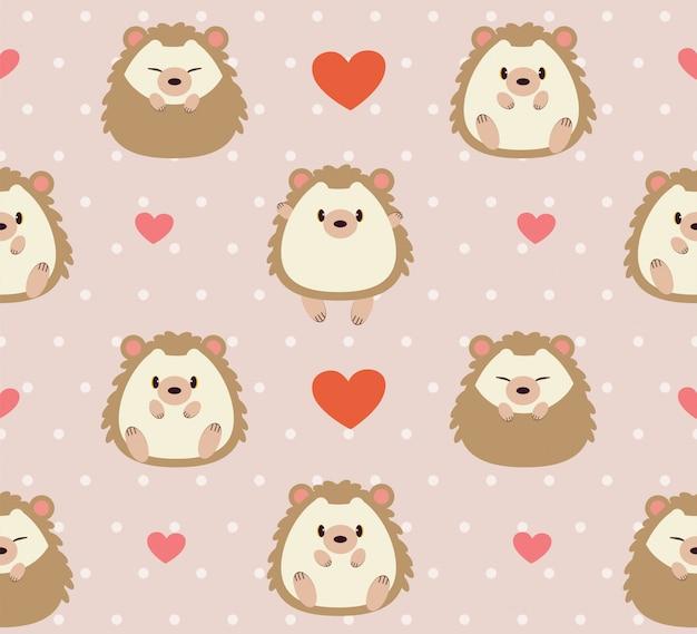 Padrão sem emenda de ouriço fofo e coração rosa Vetor Premium