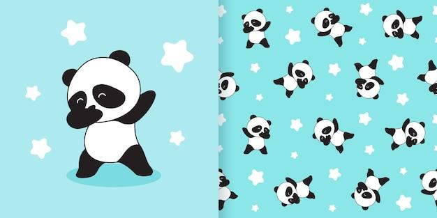 Padrão sem emenda de panda bonito Vetor Premium