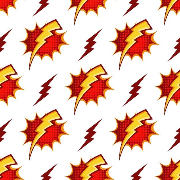 Padrão sem emenda de parafusos de relâmpago no estilo retrô dos anos 80 dos desenhos animados. poder da luz do trovão, energia e raio da tempestade Vetor grátis