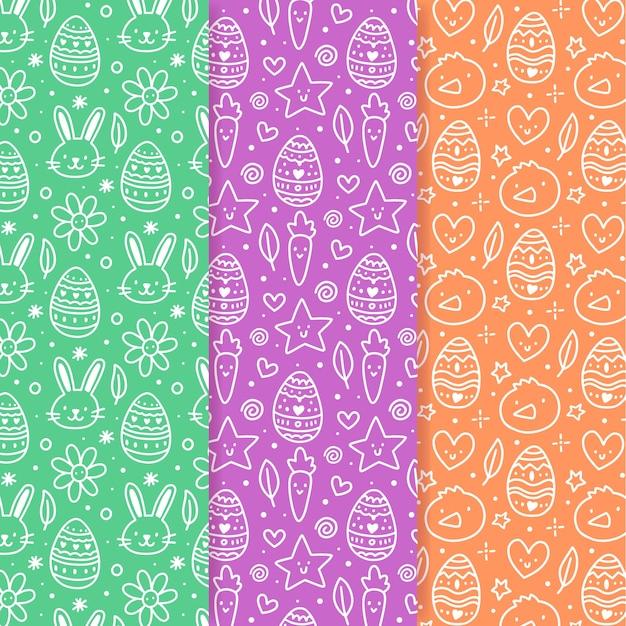 Padrão sem emenda de páscoa mão desenhadas doodles Vetor grátis