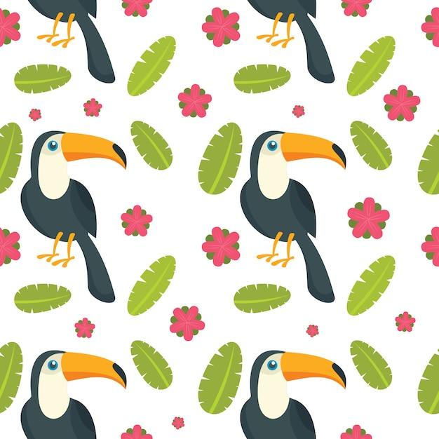 Padrão sem emenda de pássaro papagaio tucano Vetor Premium