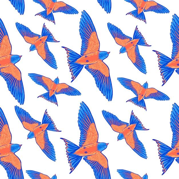 Padrão sem emenda de pássaro tropical azul sobre um fundo branco. Vetor Premium