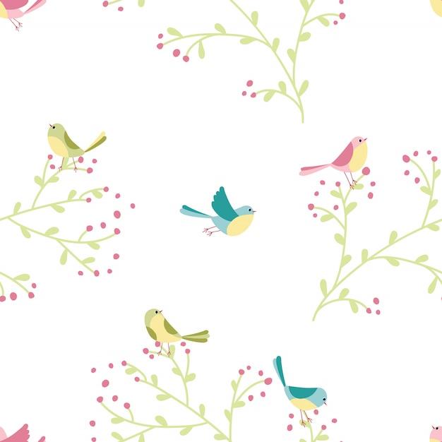 Padrão sem emenda de pássaros coloridos e plantas na ilustração desenhados à mão em estilo simples dos desenhos animados em tons pastel Vetor Premium