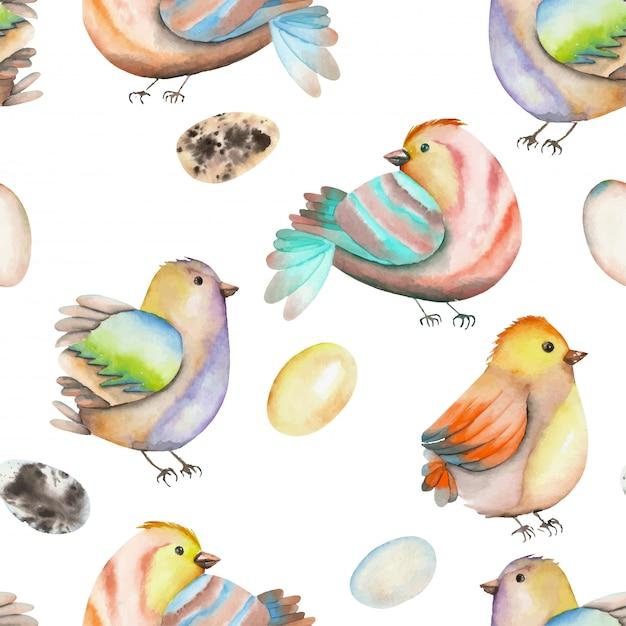 Padrão sem emenda de pássaros e ovos em aquarela Vetor Premium