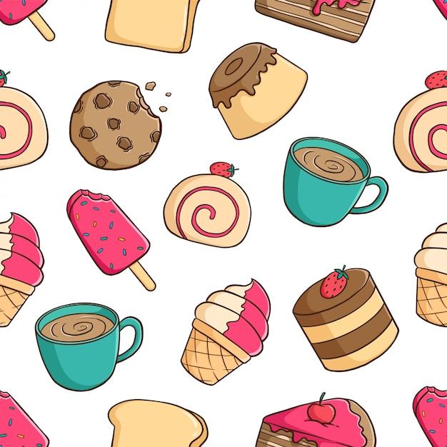 Padrão sem emenda de pastelaria deliciosa com pudim, biscoito, sorvete e café sobre fundo branco Vetor Premium