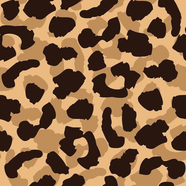 Padrão sem emenda de pele de leopardo. repetição de textura de gato selvagem. papel de parede abstrato de pêlo animal Vetor Premium