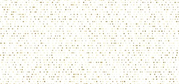 Padrão sem emenda de pequenos pontos abstratos de ouro sobre fundo branco. Vetor Premium