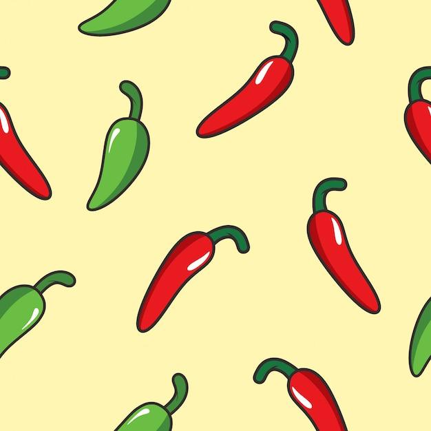 Padrão sem emenda de pimenta Vetor Premium