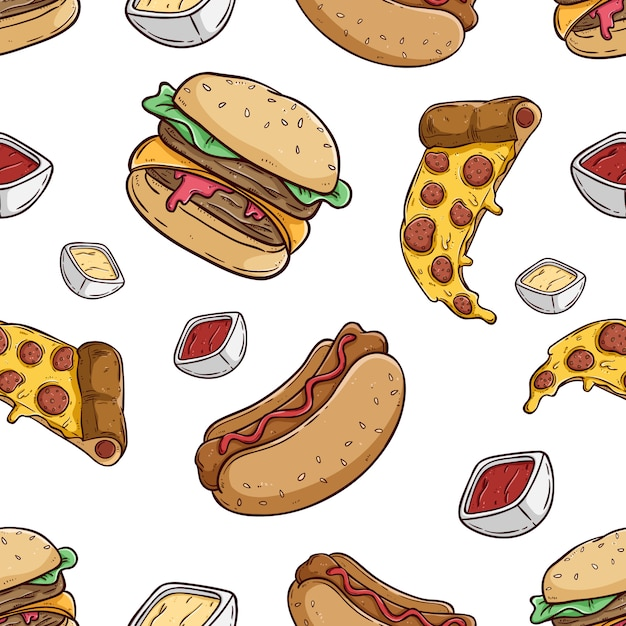 Padrão sem emenda de pizza de hambúrguer e cachorro-quente com estilo colorido mão desenhada Vetor Premium