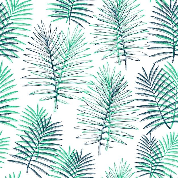 Padrão sem emenda de plantas tropicais Vetor Premium