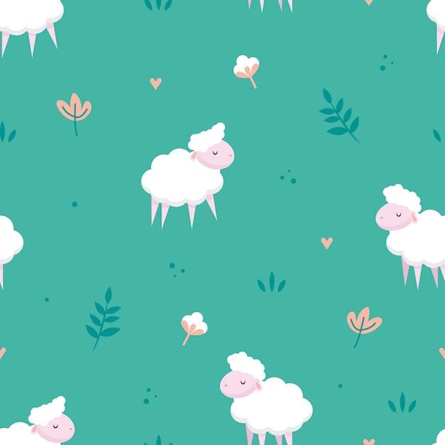 Padrão sem emenda de prado de ovelhas Vetor Premium