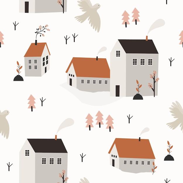 Padrão sem emenda de primavera com casas e árvores. Vetor Premium