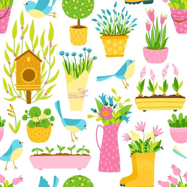 Padrão sem emenda de primavera em estilo cartoon simples desenhado à mão. passarinhos infantis entre vasos e vasos de flores. tema de jardinagem. Vetor Premium